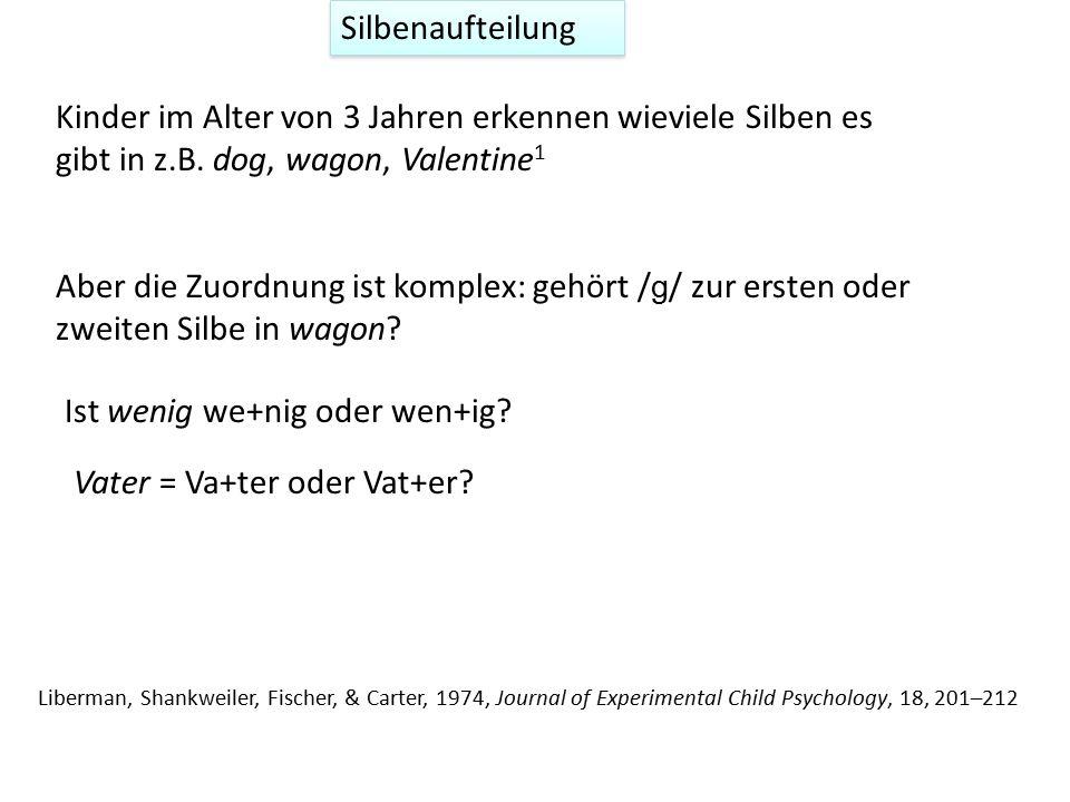 Silbenaufteilung Kinder im Alter von 3 Jahren erkennen wieviele Silben es gibt in z.B. dog, wagon, Valentine 1 Ist wenig we+nig oder wen+ig? Vater = V