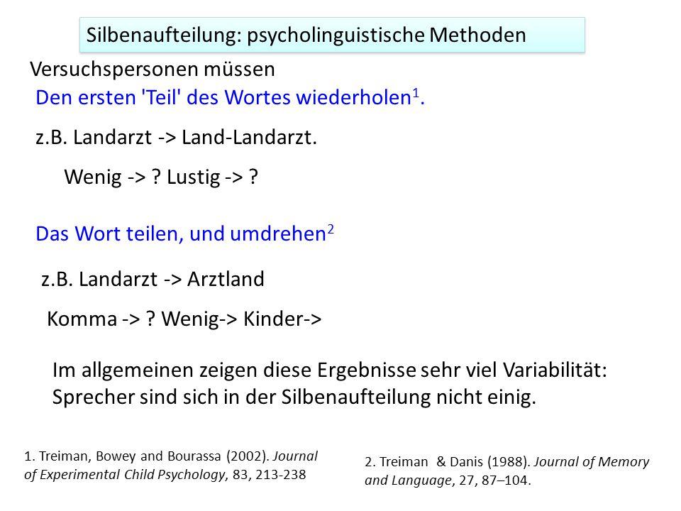 Silbenaufteilung: psycholinguistische Methoden Den ersten 'Teil' des Wortes wiederholen 1. Versuchspersonen müssen z.B. Landarzt -> Land-Landarzt. Wen