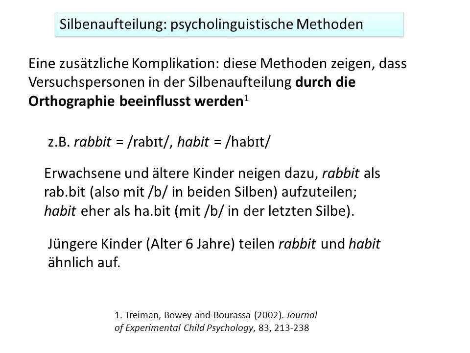 Silbenaufteilung: psycholinguistische Methoden Eine zusätzliche Komplikation: diese Methoden zeigen, dass Versuchspersonen in der Silbenaufteilung dur