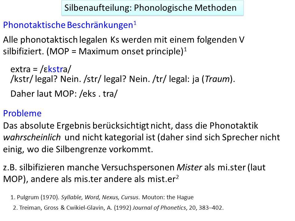 Phonotaktische Beschränkungen 1 Alle phonotaktisch legalen Ks werden mit einem folgenden V silbifiziert. (MOP = Maximum onset principle) 1 Silbenaufte