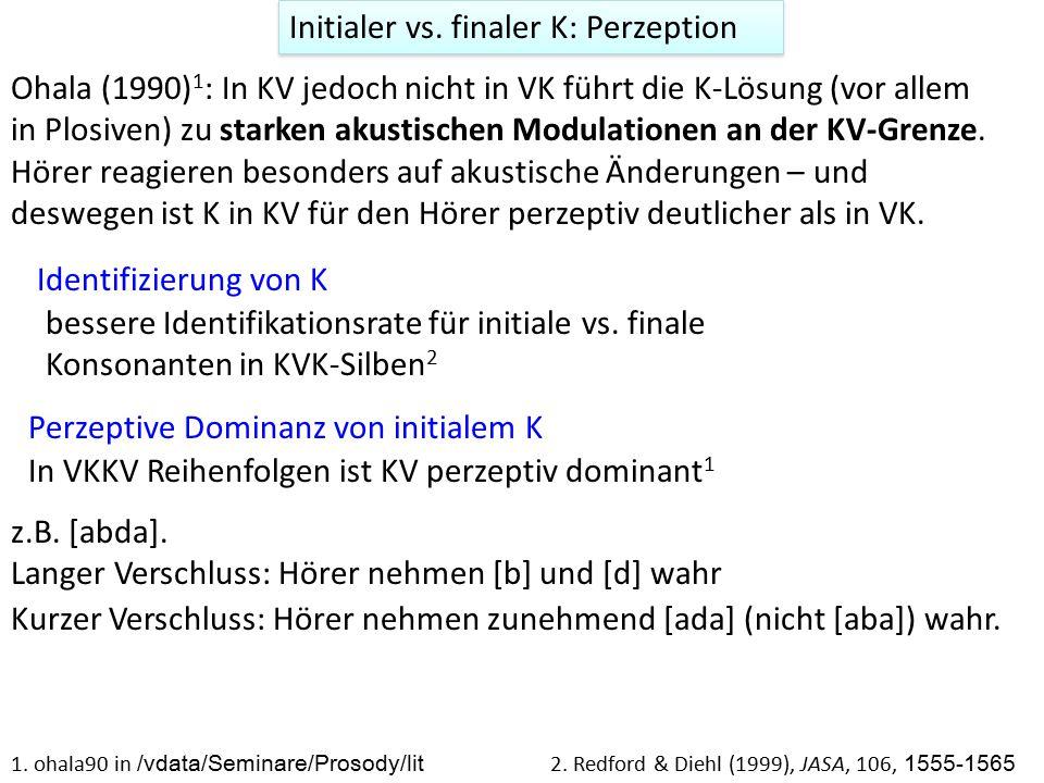 Initialer vs. finaler K: Perzeption Ohala (1990) 1 : In KV jedoch nicht in VK führt die K-Lösung (vor allem in Plosiven) zu starken akustischen Modula