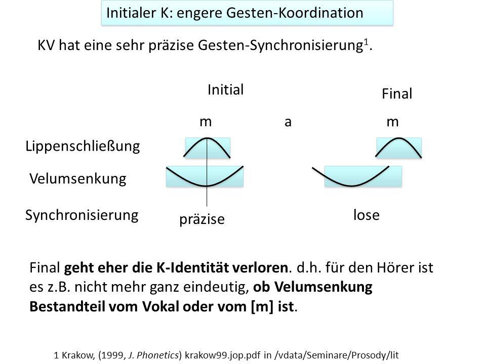 Initialer K: engere Gesten-Koordination KV hat eine sehr präzise Gesten-Synchronisierung 1. Initial ` ` Lippenschließung Velumsenkung m a Final geht e