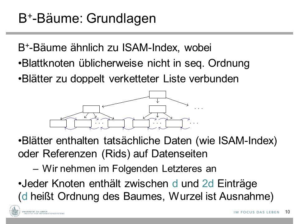 B + -Bäume: Grundlagen B + -Bäume ähnlich zu ISAM-Index, wobei Blattknoten üblicherweise nicht in seq. Ordnung Blätter zu doppelt verketteter Liste ve