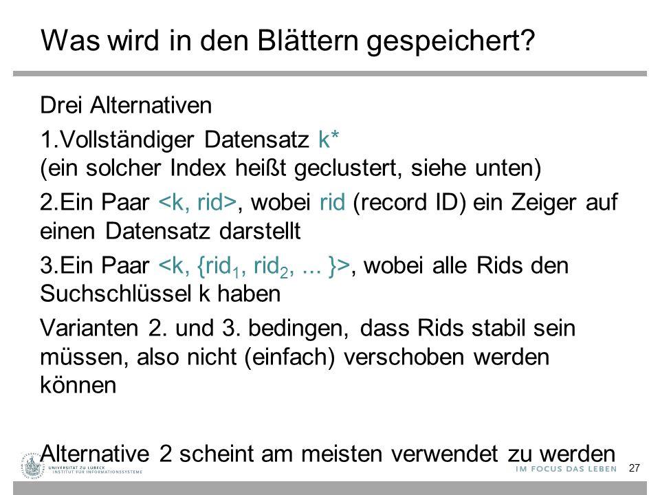 Was wird in den Blättern gespeichert? Drei Alternativen 1.Vollständiger Datensatz k* (ein solcher Index heißt geclustert, siehe unten) 2.Ein Paar, wob