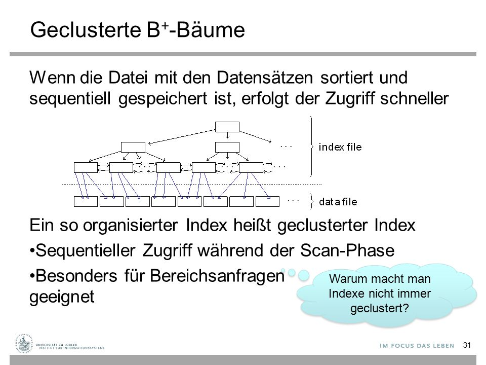 Geclusterte B + -Bäume Wenn die Datei mit den Datensätzen sortiert und sequentiell gespeichert ist, erfolgt der Zugriff schneller Ein so organisierter