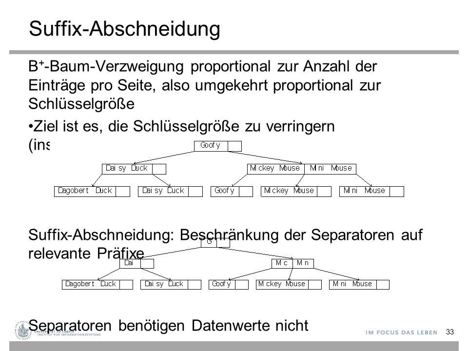 Suffix-Abschneidung B + -Baum-Verzweigung proportional zur Anzahl der Einträge pro Seite, also umgekehrt proportional zur Schlüsselgröße Ziel ist es, die Schlüsselgröße zu verringern (insb.