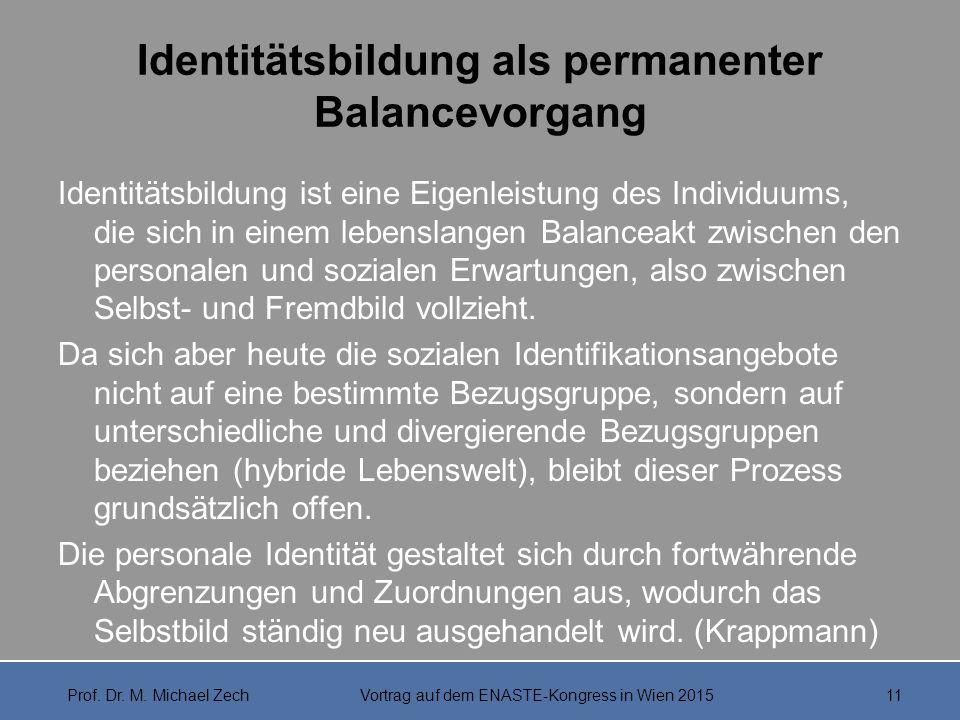 Identitätsbildung als permanenter Balancevorgang Identitätsbildung ist eine Eigenleistung des Individuums, die sich in einem lebenslangen Balanceakt z