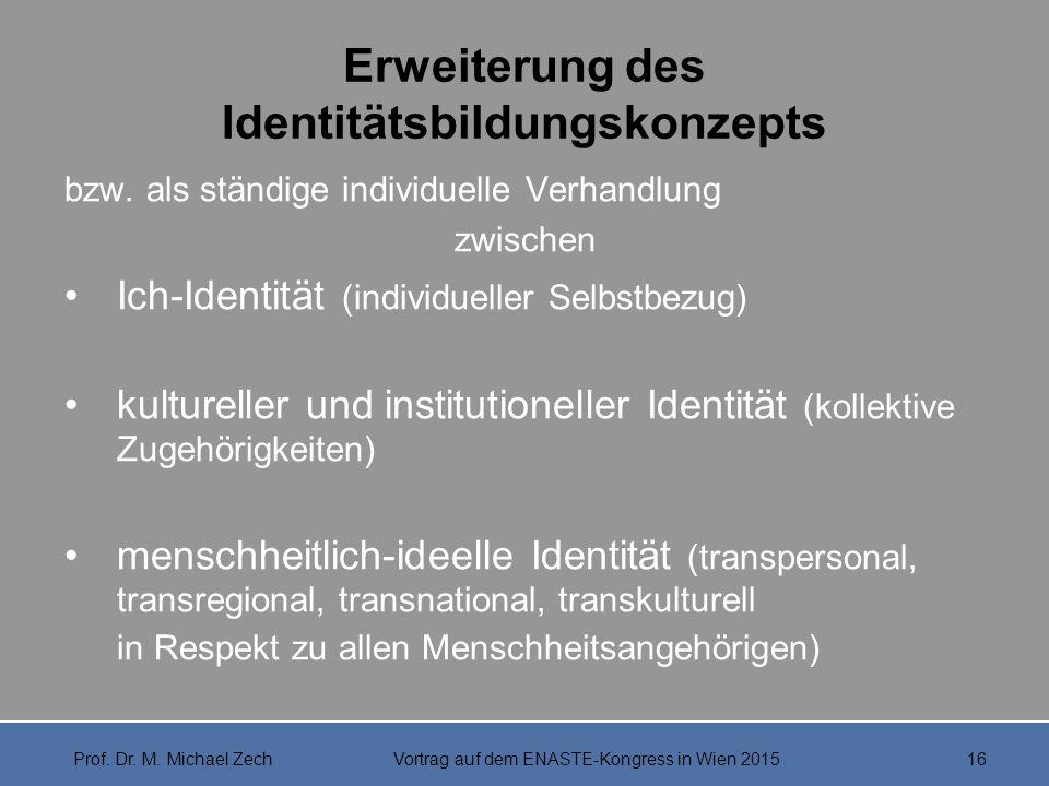 Erweiterung des Identitätsbildungskonzepts bzw. als ständige individuelle Verhandlung zwischen Ich-Identität (individueller Selbstbezug) kultureller u