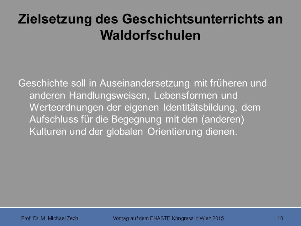 Zielsetzung des Geschichtsunterrichts an Waldorfschulen Geschichte soll in Auseinandersetzung mit früheren und anderen Handlungsweisen, Lebensformen u