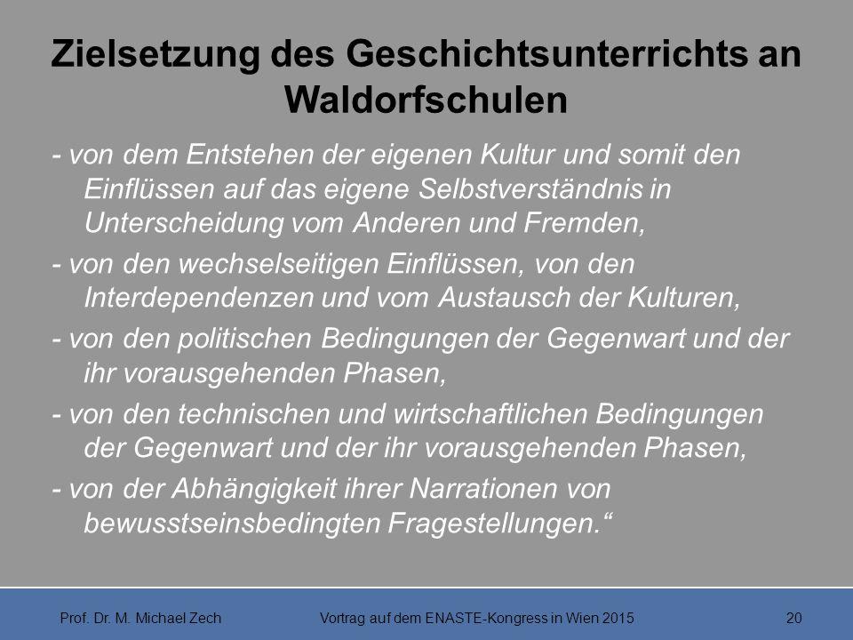 Zielsetzung des Geschichtsunterrichts an Waldorfschulen - von dem Entstehen der eigenen Kultur und somit den Einflüssen auf das eigene Selbstverständn
