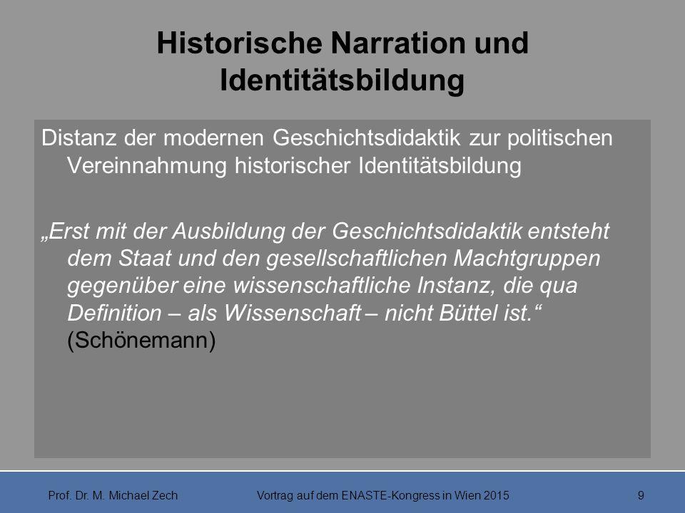 """Historische Narration und Identitätsbildung """"Wer die nationale Identität […] als obligatorischen Bezugspunkt von Geschichtsunterricht setzt, vergißt darüber die Ich-Identität der Schüler."""