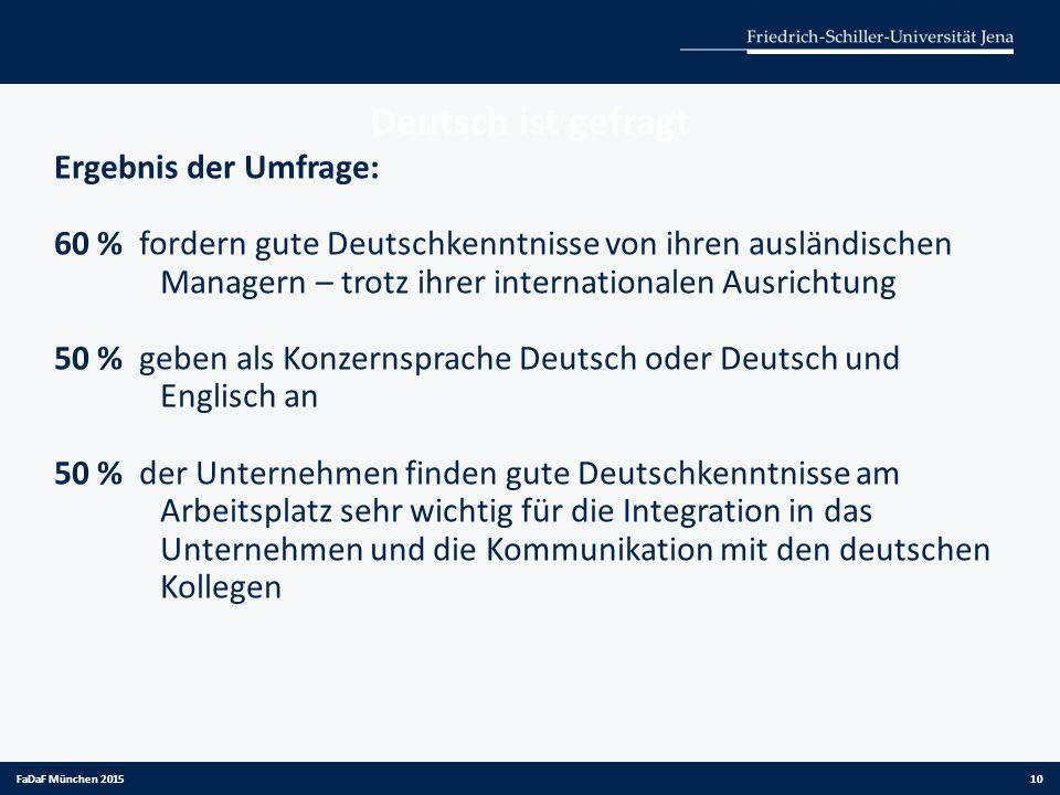 Deutsch ist gefragt Ergebnis der Umfrage: 60 % fordern gute Deutschkenntnisse von ihren ausländischen Managern – trotz ihrer internationalen Ausrichtu