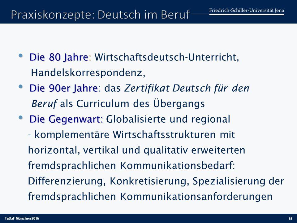 Die 80 Jahre : Die 80 Jahre : Wirtschaftsdeutsch-Unterricht, Handelskorrespondenz, Die 90er Jahre Die 90er Jahre : das Zertifikat Deutsch für den Beru