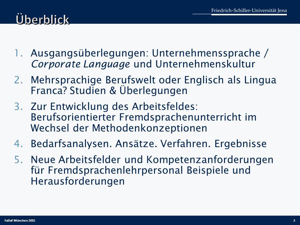 1.Ausgangsüberlegungen: Unternehmenssprache / Corporate Language und Unternehmenskultur 2.Mehrsprachige Berufswelt oder Englisch als Lingua Franca.