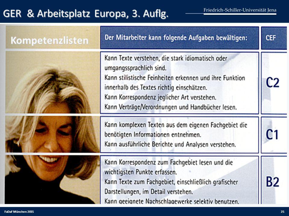 FaDaF München 201525 GER & Arbeitsplatz Europa, 3. Auflg. Kompetenzlisten Kompetenzlisten
