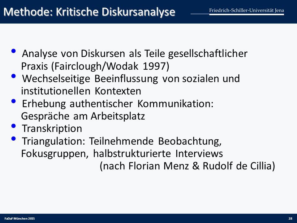 Methode: Kritische Diskursanalyse FaDaF München 201528 Analyse von Diskursen als Teile gesellschaftlicher Praxis (Fairclough/Wodak 1997) Wechselseitig