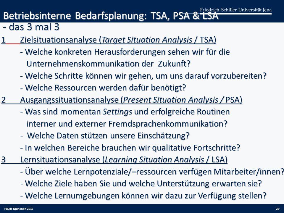 Betriebsinterne Bedarfsplanung: TSA, PSA & LSA - das 3 mal 3 1Zielsituationsanalyse (Target Situation Analysis / TSA) - Welche konkreten Herausforderu