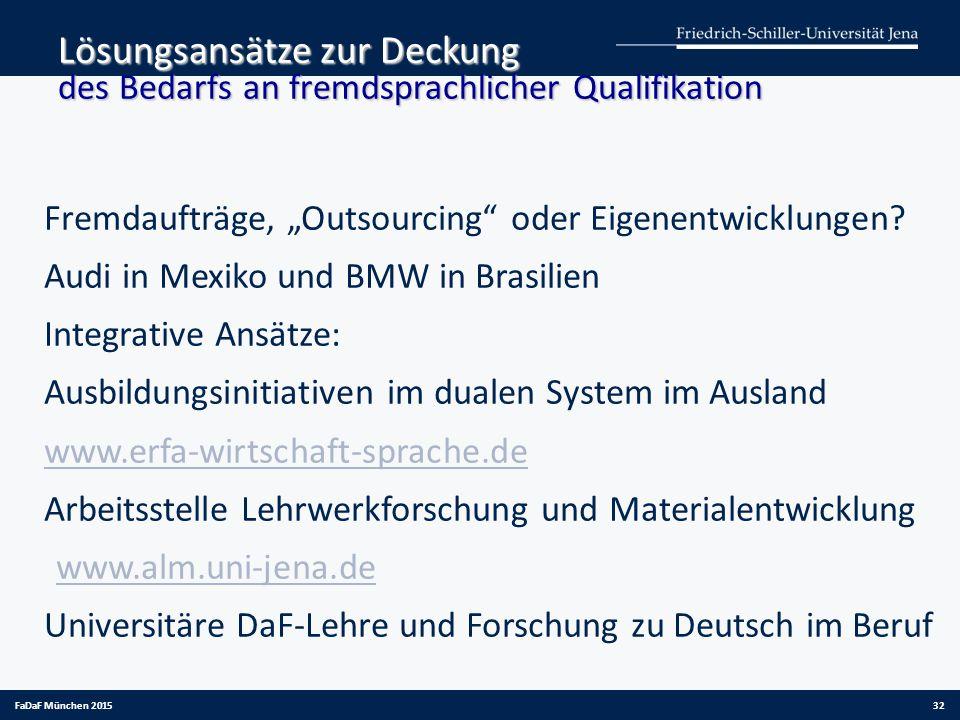 """Lösungsansätze zur Deckung des Bedarfs an fremdsprachlicher Qualifikation Fremdaufträge, """"Outsourcing"""" oder Eigenentwicklungen? Audi in Mexiko und BMW"""