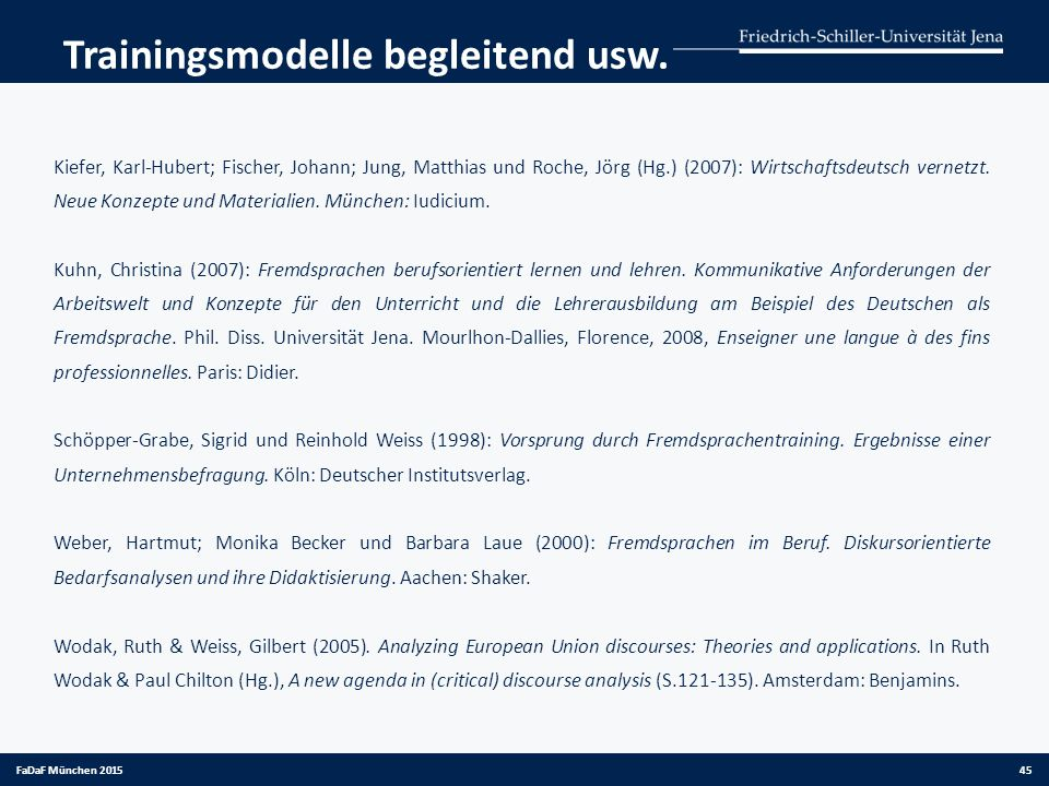 Trainingsmodelle begleitend usw. Kiefer, Karl-Hubert; Fischer, Johann; Jung, Matthias und Roche, Jörg (Hg.) (2007): Wirtschaftsdeutsch vernetzt. Neue