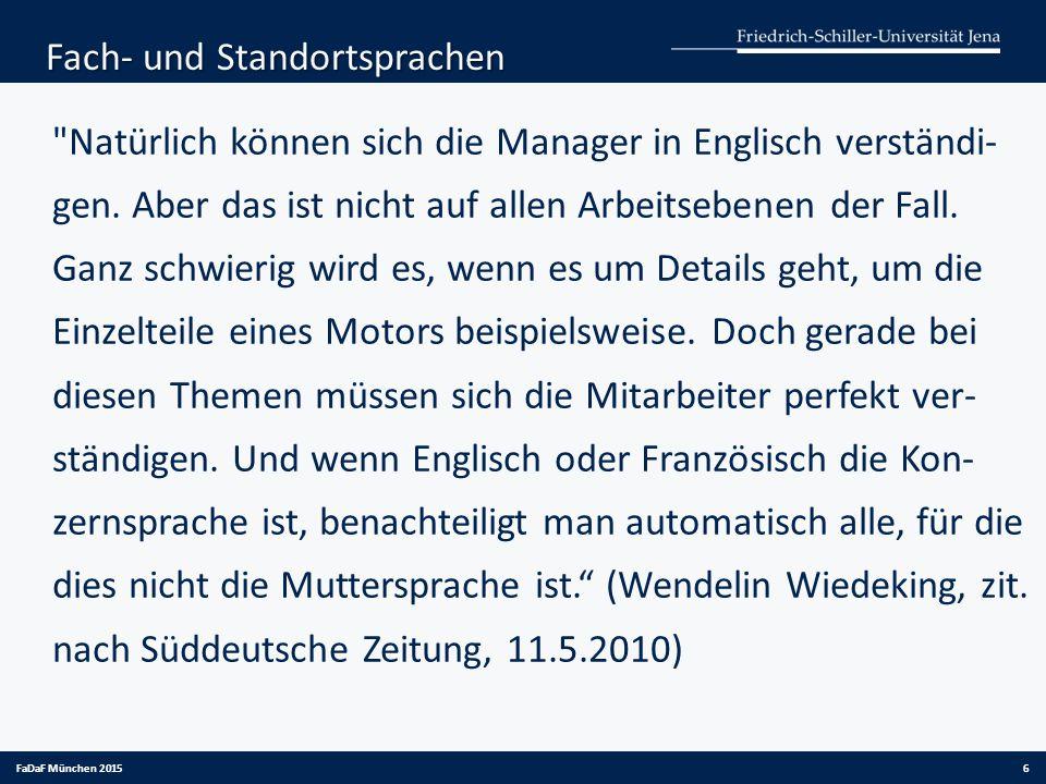FaDaF München 2015 aus: VW-Internetseite, 3/ 2015 7 Die Sprache der Kunden
