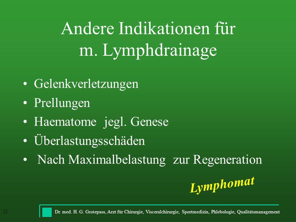 Dr. med. H. G. Grotepass, Arzt für Chirurgie, Visceralchirurgie, Sportmedizin, Phlebologie, Qualitätsmanagement21 Andere Indikationen für m. Lymphdrai