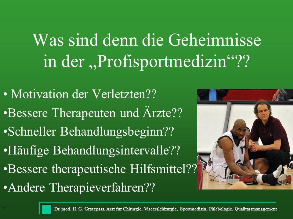 Dr. med. H. G. Grotepass, Arzt für Chirurgie, Visceralchirurgie, Sportmedizin, Phlebologie, Qualitätsmanagement7 Was sind denn die Geheimnisse in der