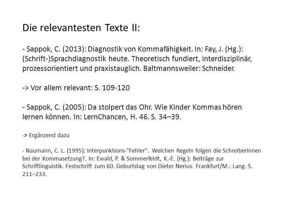 Die relevantesten Texte II: - Sappok, C. (2013): Diagnostik von Kommafähigkeit.