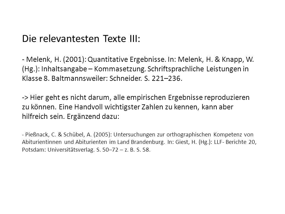 Die relevantesten Texte III: - Melenk, H. (2001): Quantitative Ergebnisse.