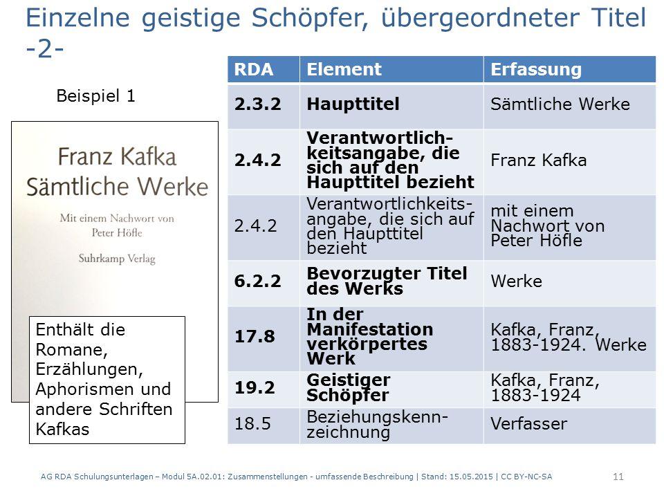 AG RDA Schulungsunterlagen – Modul 5A.02.01: Zusammenstellungen - umfassende Beschreibung | Stand: 15.05.2015 | CC BY-NC-SA 11 RDAElementErfassung 2.3.2HaupttitelSämtliche Werke 2.4.2 Verantwortlich- keitsangabe, die sich auf den Haupttitel bezieht Franz Kafka 2.4.2 Verantwortlichkeits- angabe, die sich auf den Haupttitel bezieht mit einem Nachwort von Peter Höfle 6.2.2 Bevorzugter Titel des Werks Werke 17.8 In der Manifestation verkörpertes Werk Kafka, Franz, 1883-1924.