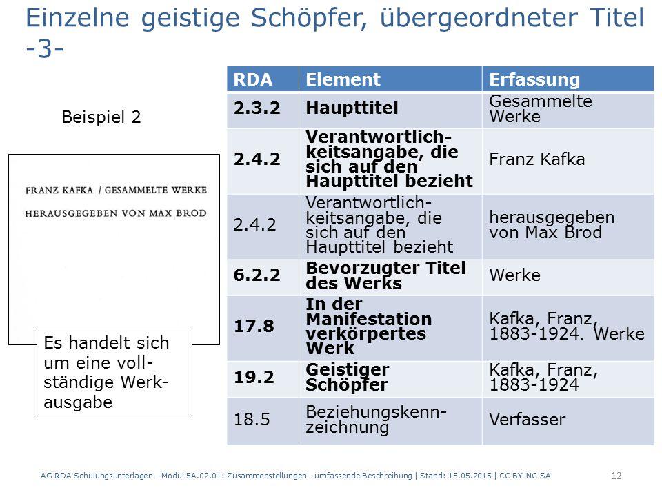 AG RDA Schulungsunterlagen – Modul 5A.02.01: Zusammenstellungen - umfassende Beschreibung | Stand: 15.05.2015 | CC BY-NC-SA 12 RDAElementErfassung 2.3.2Haupttitel Gesammelte Werke 2.4.2 Verantwortlich- keitsangabe, die sich auf den Haupttitel bezieht Franz Kafka 2.4.2 Verantwortlich- keitsangabe, die sich auf den Haupttitel bezieht herausgegeben von Max Brod 6.2.2 Bevorzugter Titel des Werks Werke 17.8 In der Manifestation verkörpertes Werk Kafka, Franz, 1883-1924.