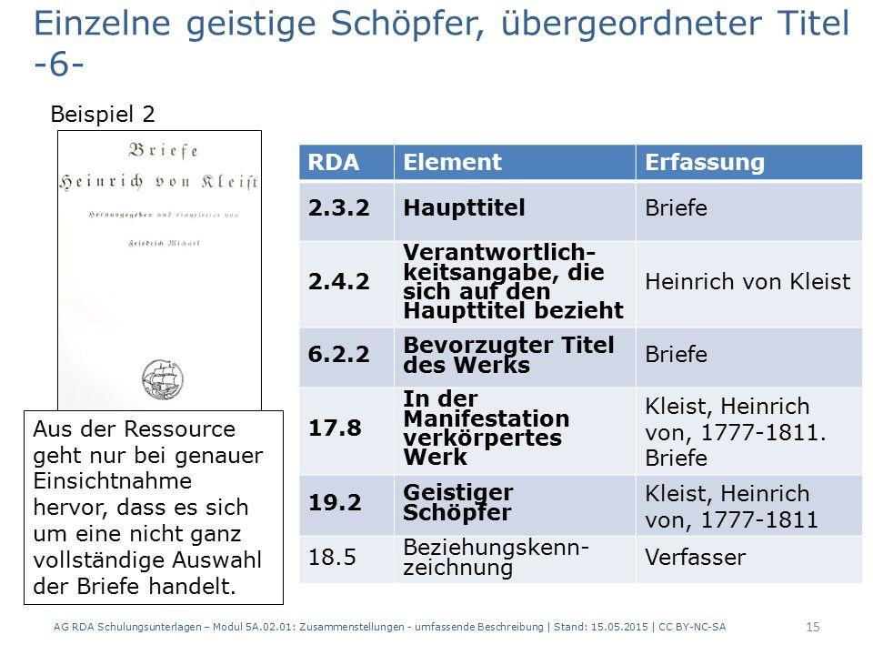 AG RDA Schulungsunterlagen – Modul 5A.02.01: Zusammenstellungen - umfassende Beschreibung | Stand: 15.05.2015 | CC BY-NC-SA 15 RDAElementErfassung 2.3.2HaupttitelBriefe 2.4.2 Verantwortlich- keitsangabe, die sich auf den Haupttitel bezieht Heinrich von Kleist 6.2.2 Bevorzugter Titel des Werks Briefe 17.8 In der Manifestation verkörpertes Werk Kleist, Heinrich von, 1777-1811.