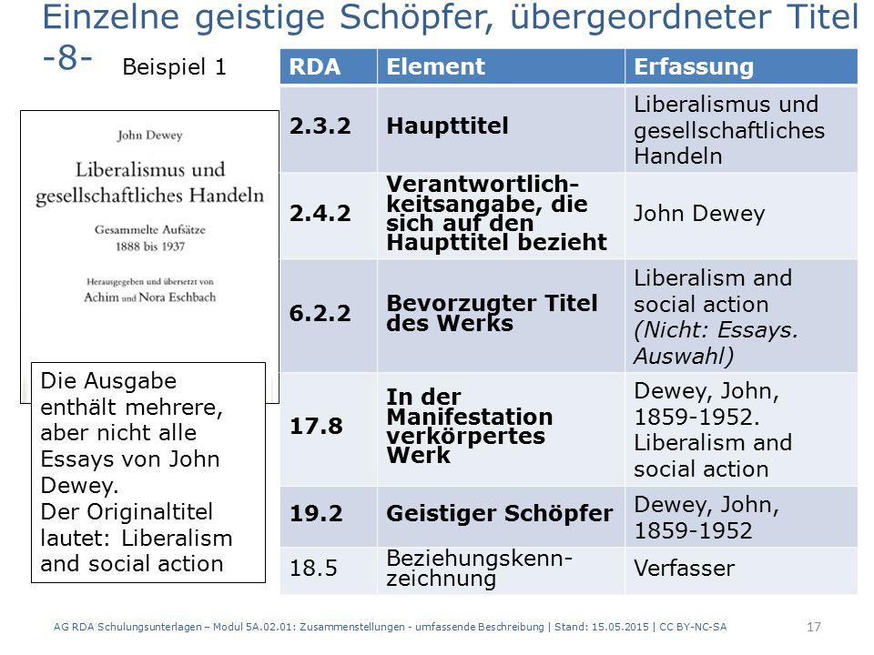 AG RDA Schulungsunterlagen – Modul 5A.02.01: Zusammenstellungen - umfassende Beschreibung | Stand: 15.05.2015 | CC BY-NC-SA 17 RDAElementErfassung 2.3.2Haupttitel Liberalismus und gesellschaftliches Handeln 2.4.2 Verantwortlich- keitsangabe, die sich auf den Haupttitel bezieht John Dewey 6.2.2 Bevorzugter Titel des Werks Liberalism and social action (Nicht: Essays.