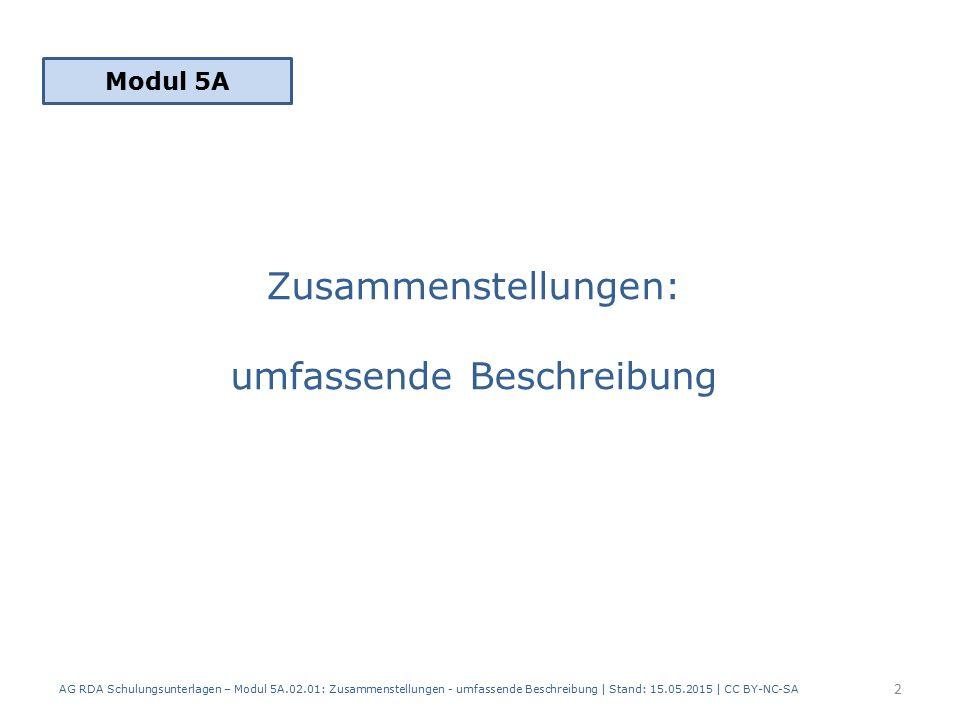 Zusammenstellungen: umfassende Beschreibung Modul 5A 2 AG RDA Schulungsunterlagen – Modul 5A.02.01: Zusammenstellungen - umfassende Beschreibung | Stand: 15.05.2015 | CC BY-NC-SA