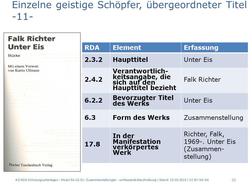 AG RDA Schulungsunterlagen – Modul 5A.02.01: Zusammenstellungen - umfassende Beschreibung | Stand: 15.05.2015 | CC BY-NC-SA 20 RDAElementErfassung 2.3.2HaupttitelUnter Eis 2.4.2 Verantwortlich- keitsangabe, die sich auf den Haupttitel bezieht Falk Richter 6.2.2 Bevorzugter Titel des Werks Unter Eis 6.3Form des WerksZusammenstellung 17.8 In der Manifestation verkörpertes Werk Richter, Falk, 1969-.