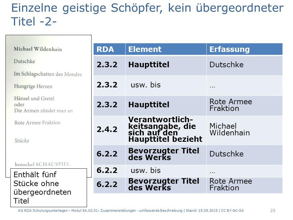 AG RDA Schulungsunterlagen – Modul 5A.02.01: Zusammenstellungen - umfassende Beschreibung | Stand: 15.05.2015 | CC BY-NC-SA 23 RDAElementErfassung 2.3.2HaupttitelDutschke 2.3.2 usw.