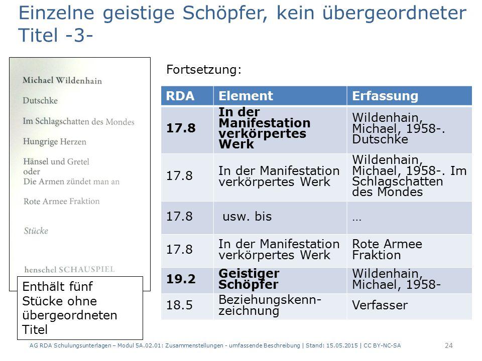 AG RDA Schulungsunterlagen – Modul 5A.02.01: Zusammenstellungen - umfassende Beschreibung | Stand: 15.05.2015 | CC BY-NC-SA 24 RDAElementErfassung 17.8 In der Manifestation verkörpertes Werk Wildenhain, Michael, 1958-.