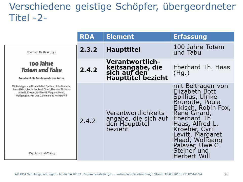 AG RDA Schulungsunterlagen – Modul 5A.02.01: Zusammenstellungen - umfassende Beschreibung | Stand: 15.05.2015 | CC BY-NC-SA 26 RDAElementErfassung 2.3.2Haupttitel 100 Jahre Totem und Tabu 2.4.2 Verantwortlich- keitsangabe, die sich auf den Haupttitel bezieht Eberhard Th.