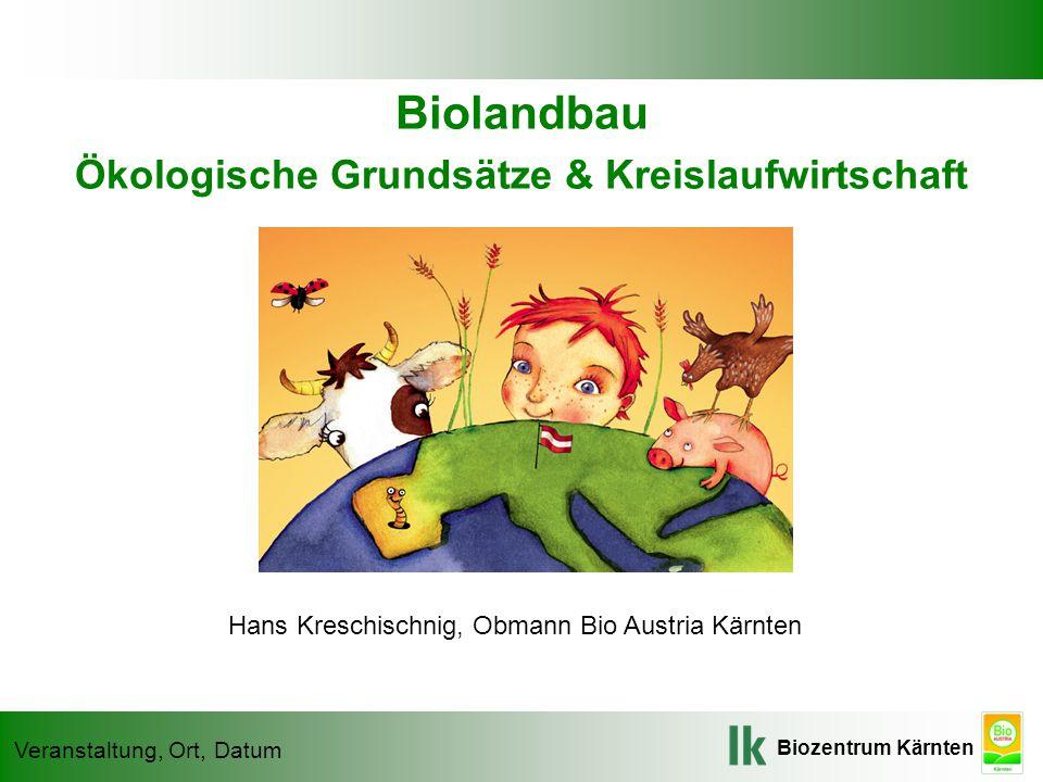 Biozentrum Kärnten Veranstaltung, Ort, Datum Biolandbau Ökologische Grundsätze & Kreislaufwirtschaft Hans Kreschischnig, Obmann Bio Austria Kärnten