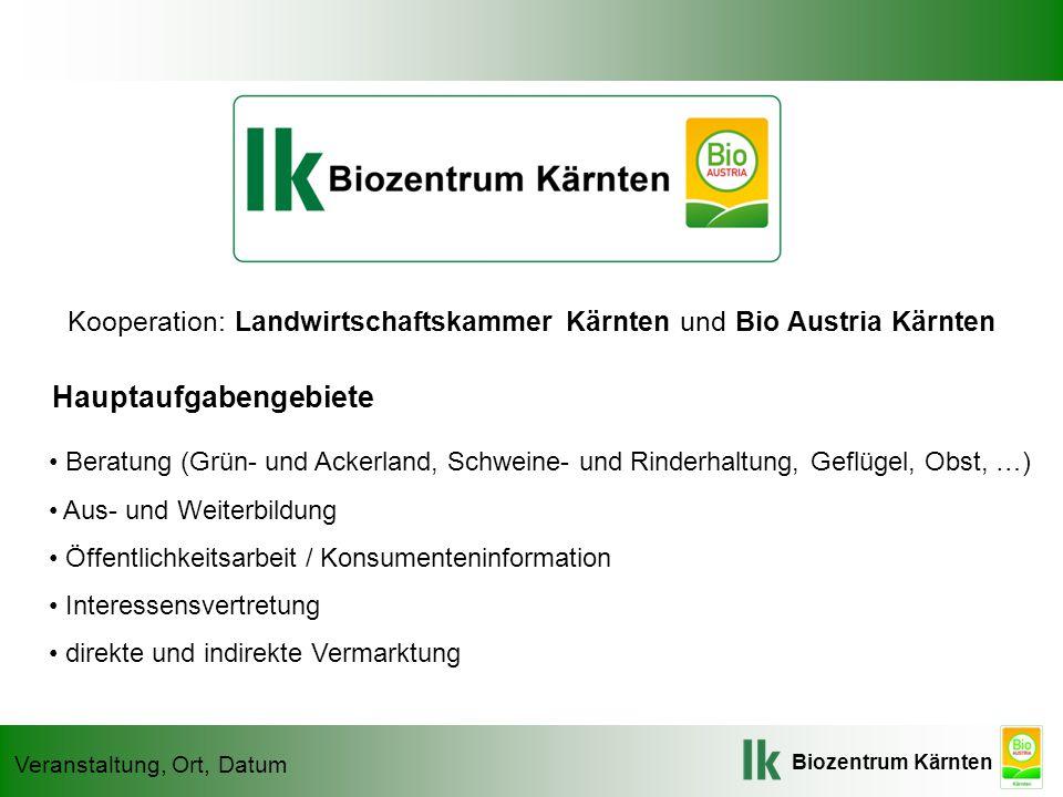 Biozentrum Kärnten Veranstaltung, Ort, Datum Kooperation: Landwirtschaftskammer Kärnten und Bio Austria Kärnten Beratung (Grün- und Ackerland, Schwein
