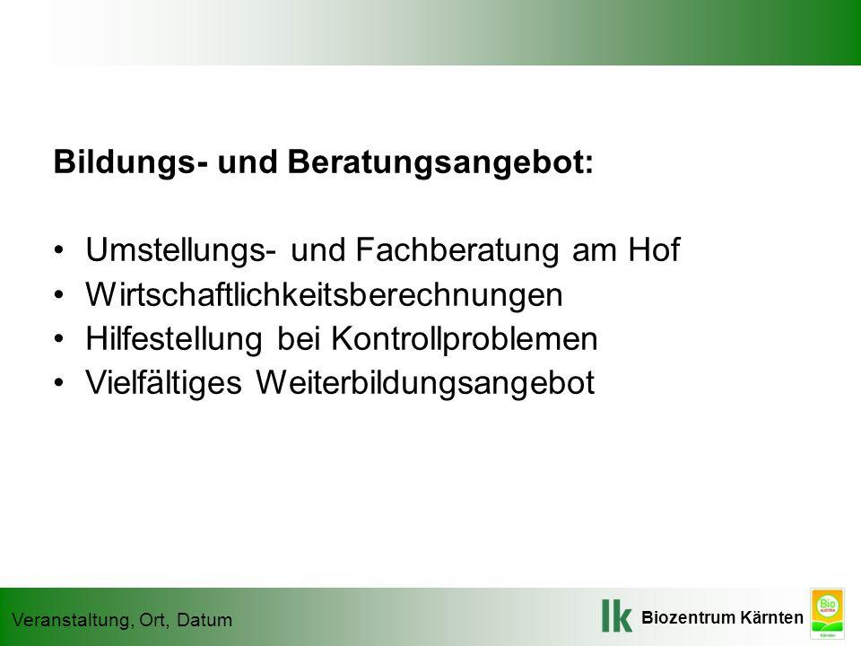 Biozentrum Kärnten Veranstaltung, Ort, Datum Bildungs- und Beratungsangebot: Umstellungs- und Fachberatung am Hof Wirtschaftlichkeitsberechnungen Hilf
