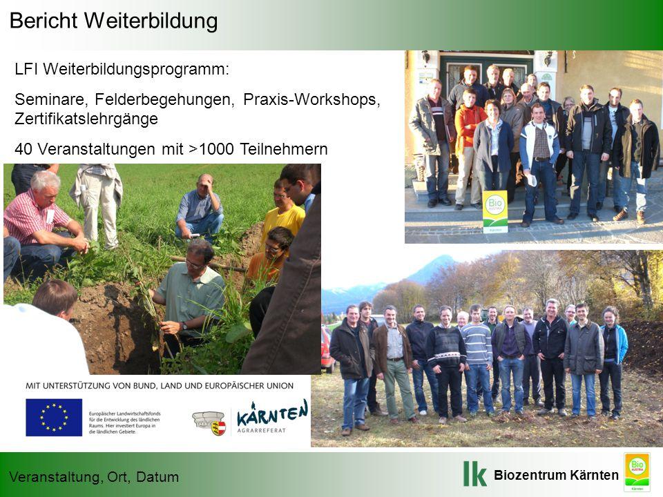 Biozentrum Kärnten Veranstaltung, Ort, Datum Bericht Weiterbildung LFI Weiterbildungsprogramm: Seminare, Felderbegehungen, Praxis-Workshops, Zertifika