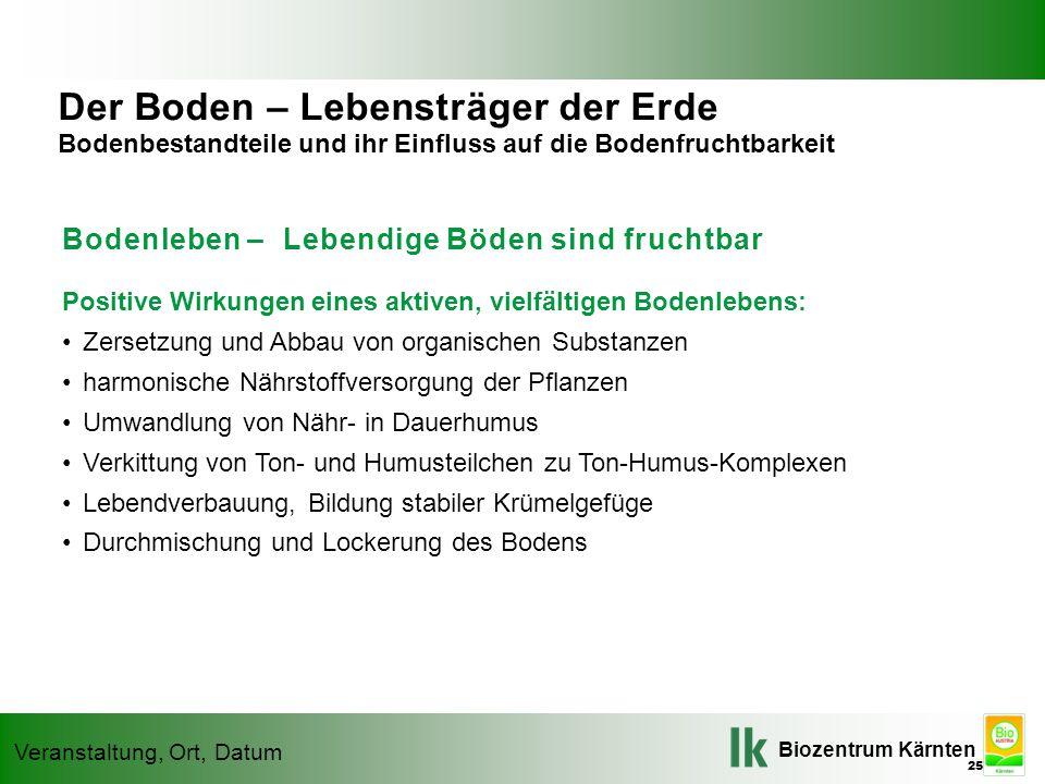 Biozentrum Kärnten Veranstaltung, Ort, Datum Bodenleben – Lebendige Böden sind fruchtbar Positive Wirkungen eines aktiven, vielfältigen Bodenlebens: Z