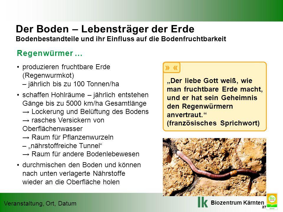 Biozentrum Kärnten Veranstaltung, Ort, Datum Regenwürmer … produzieren fruchtbare Erde (Regenwurmkot) – jährlich bis zu 100 Tonnen/ha schaffen Hohlräu
