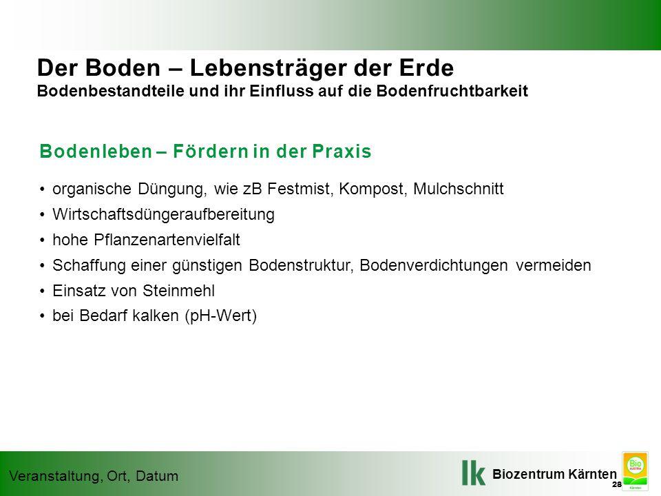 Biozentrum Kärnten Veranstaltung, Ort, Datum Bodenleben – Fördern in der Praxis organische Düngung, wie zB Festmist, Kompost, Mulchschnitt Wirtschafts