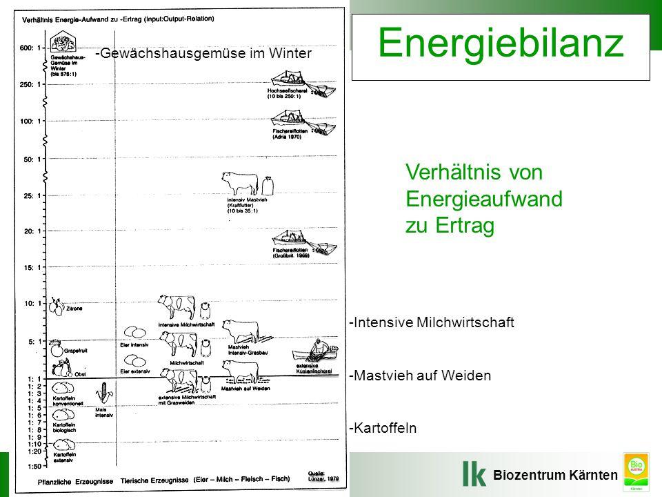 Biozentrum Kärnten Veranstaltung, Ort, Datum Energiebilanz Verhältnis von Energieaufwand zu Ertrag -Intensive Milchwirtschaft -Mastvieh auf Weiden -Kartoffeln -Gewächshausgemüse im Winter