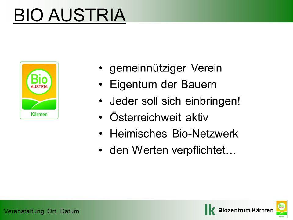 Biozentrum Kärnten Veranstaltung, Ort, Datum BIO AUSTRIA gemeinnütziger Verein Eigentum der Bauern Jeder soll sich einbringen.