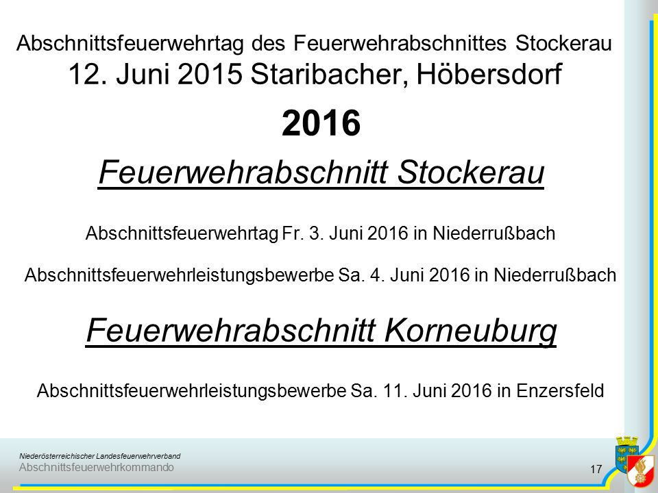 Niederösterreichischer Landesfeuerwehrverband Abschnittsfeuerwehrkommando Abschnittsfeuerwehrtag des Feuerwehrabschnittes Stockerau 12.