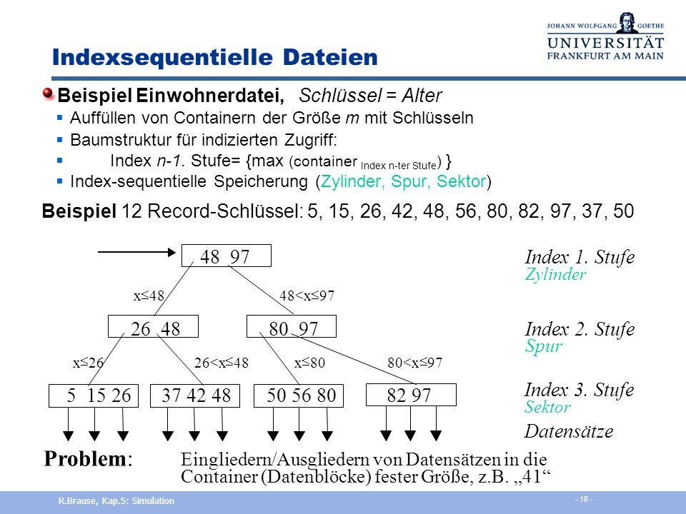 Zentrale Zeitachse Geordnete Achse, Vergleich mit aktuell. Zeit Anker  Langsames Einhängen  Schneller Zyklus R.Brause, Kap.5: Simulation - 17 -