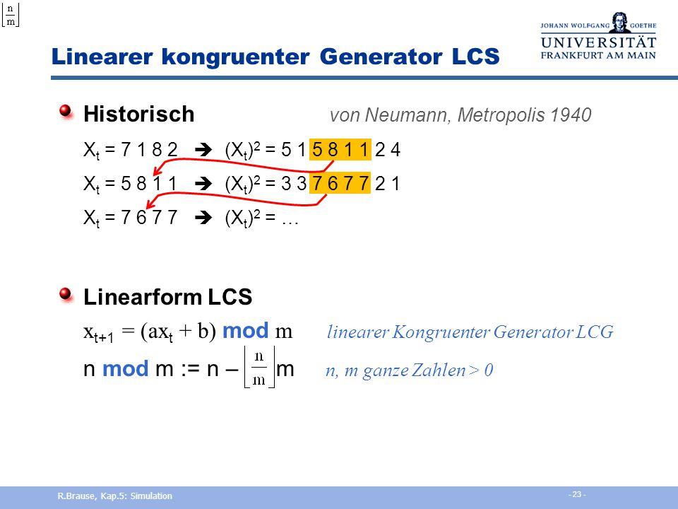 Stochast. Simulation Erzeugung von Zufallszahlen Forderungen  Unabhängigkeit P(x i,x j ) = P(x i )P(x j )  Konstante Dichte bei U(0,1) p(x) = c  Ho
