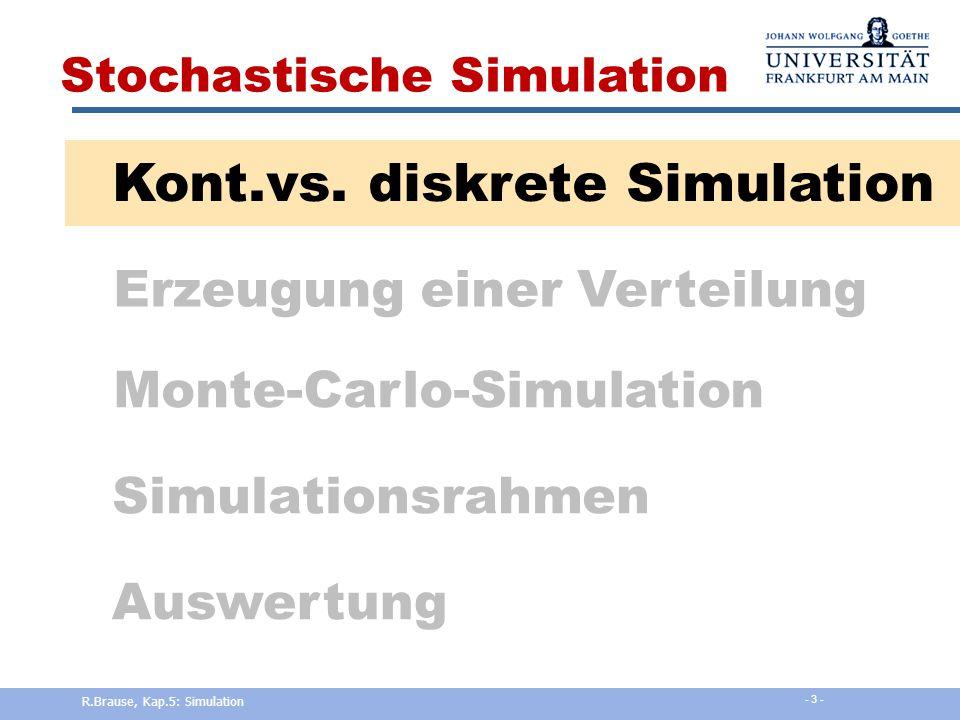 Ereignisorientierte Simulation Beispiel: Supermarkt Eingabe x  { , a,b,c,...} Warteschlange  Länge z w  Zeit T aW Ausgabe y  { , a,b,c,...} Einkaufszeit T  L R.Brause, Kap.5: Simulation - 13 -